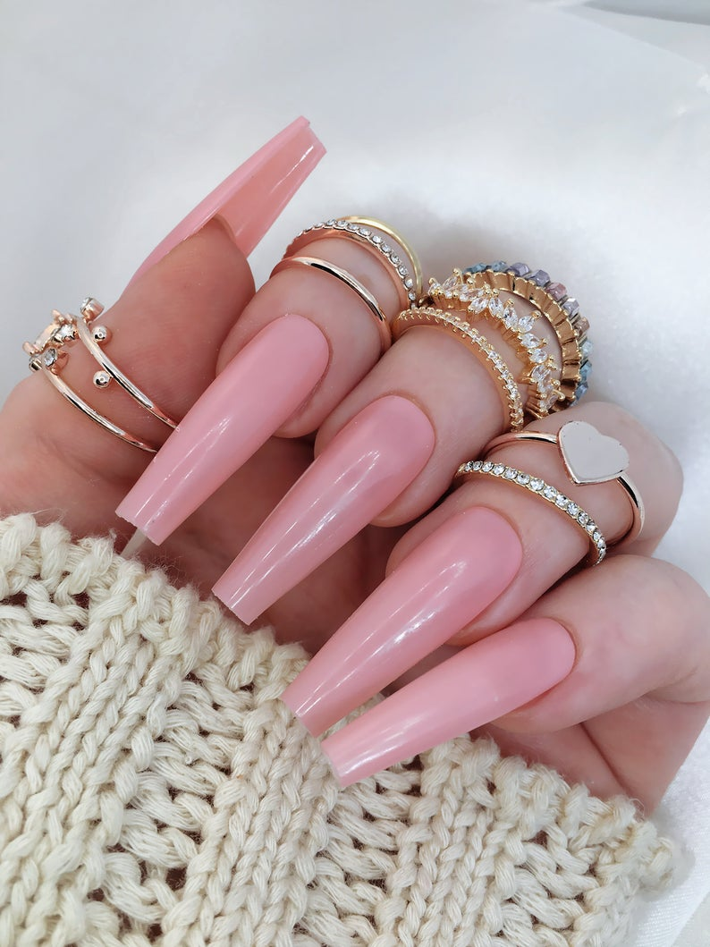 Dusty pink coffin nails