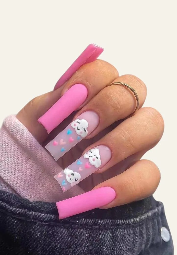 Bright pink nails with cute cloud nail art