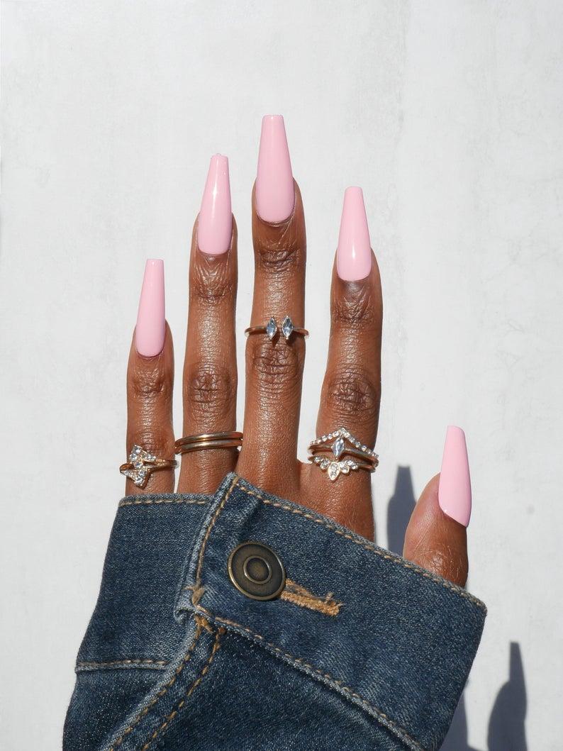 Bubblegum pink coffin nails