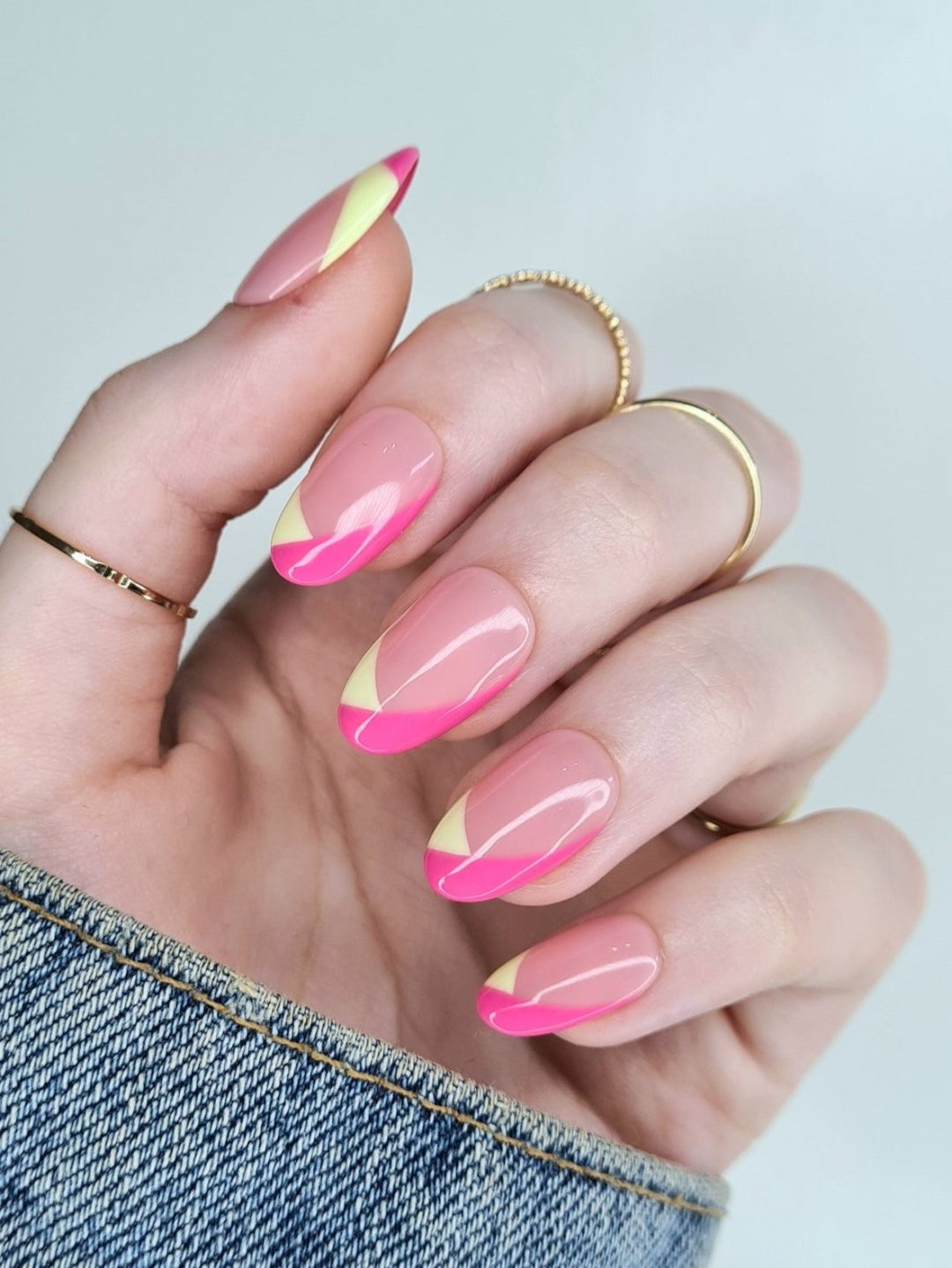 Modern colorful French tip nails with pink and light green