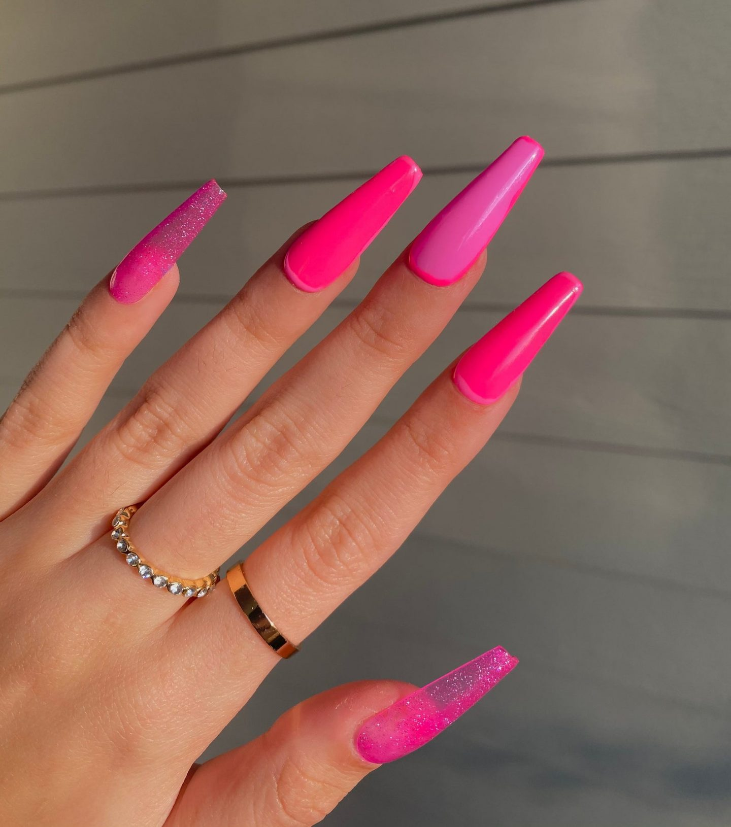 Hot pink coffin nails with jelly effect
