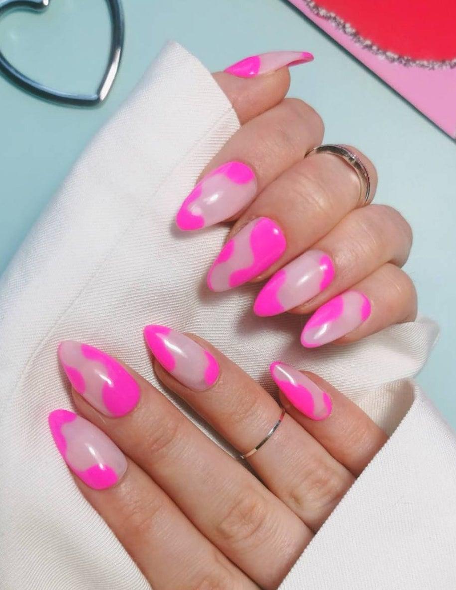 Hot pink abstract swirl nails