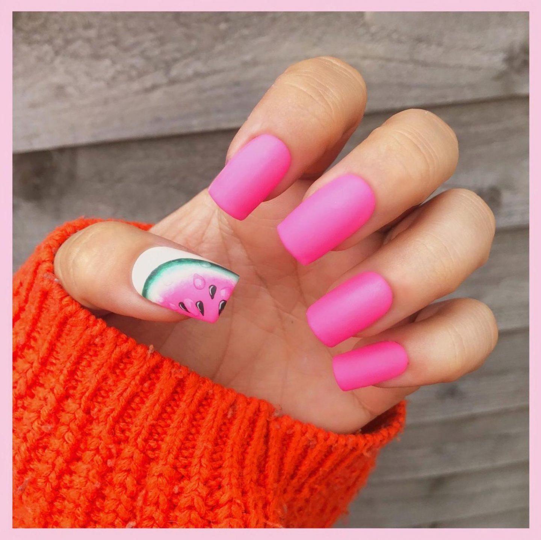 Hot pink watermelon nails