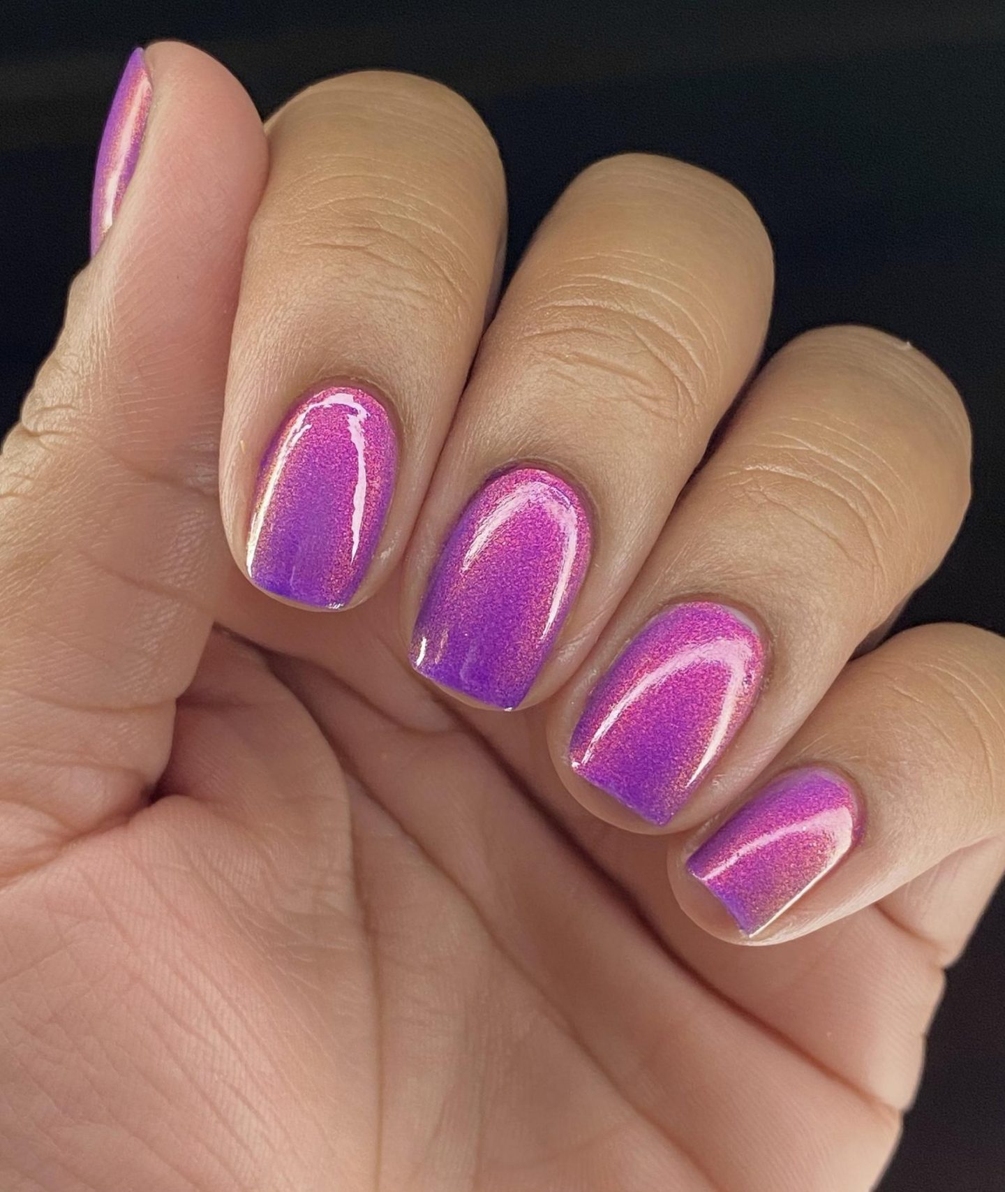 Short holographic purple nails