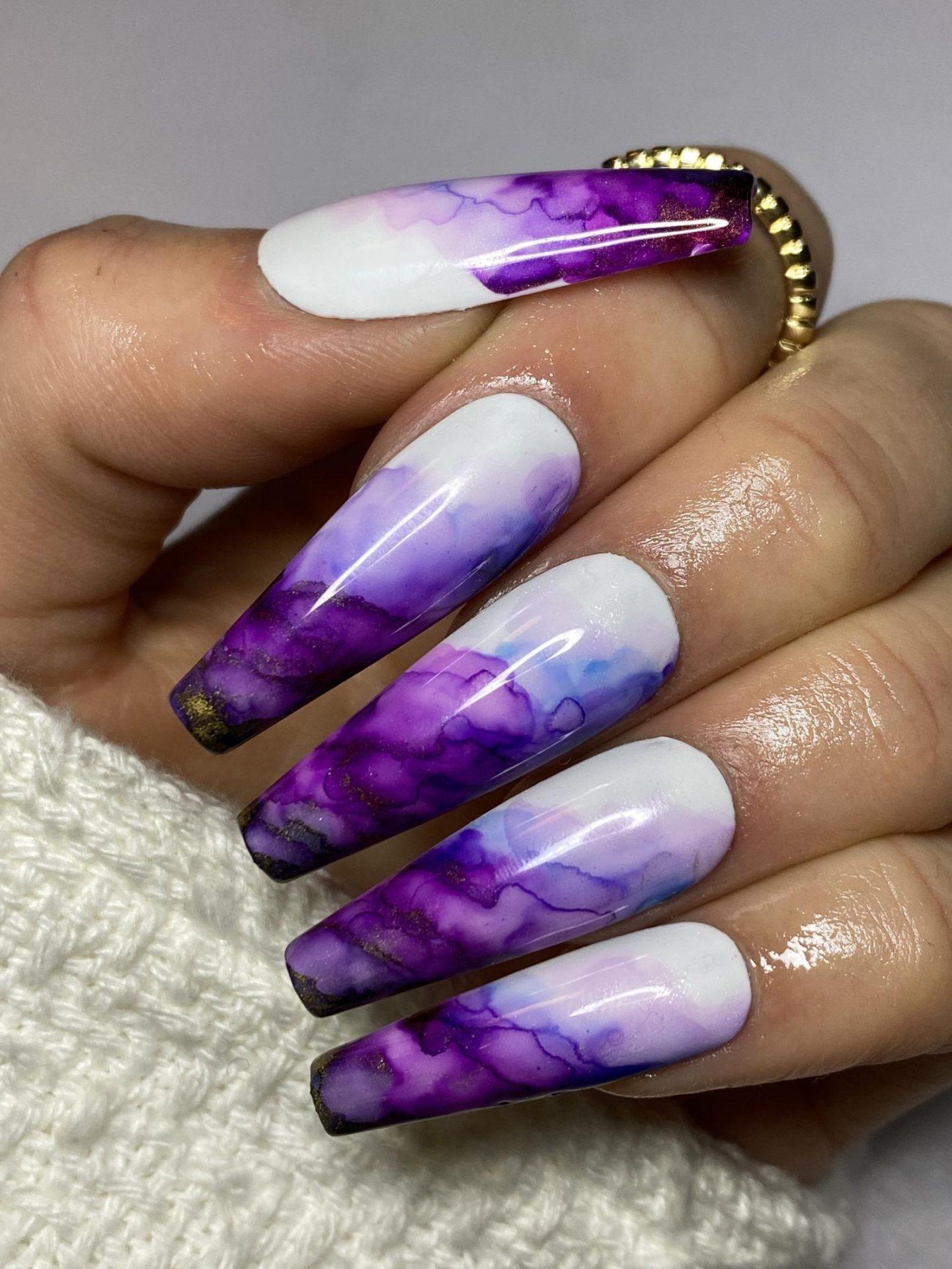 White and dark purple smoke effect coffin nail designs