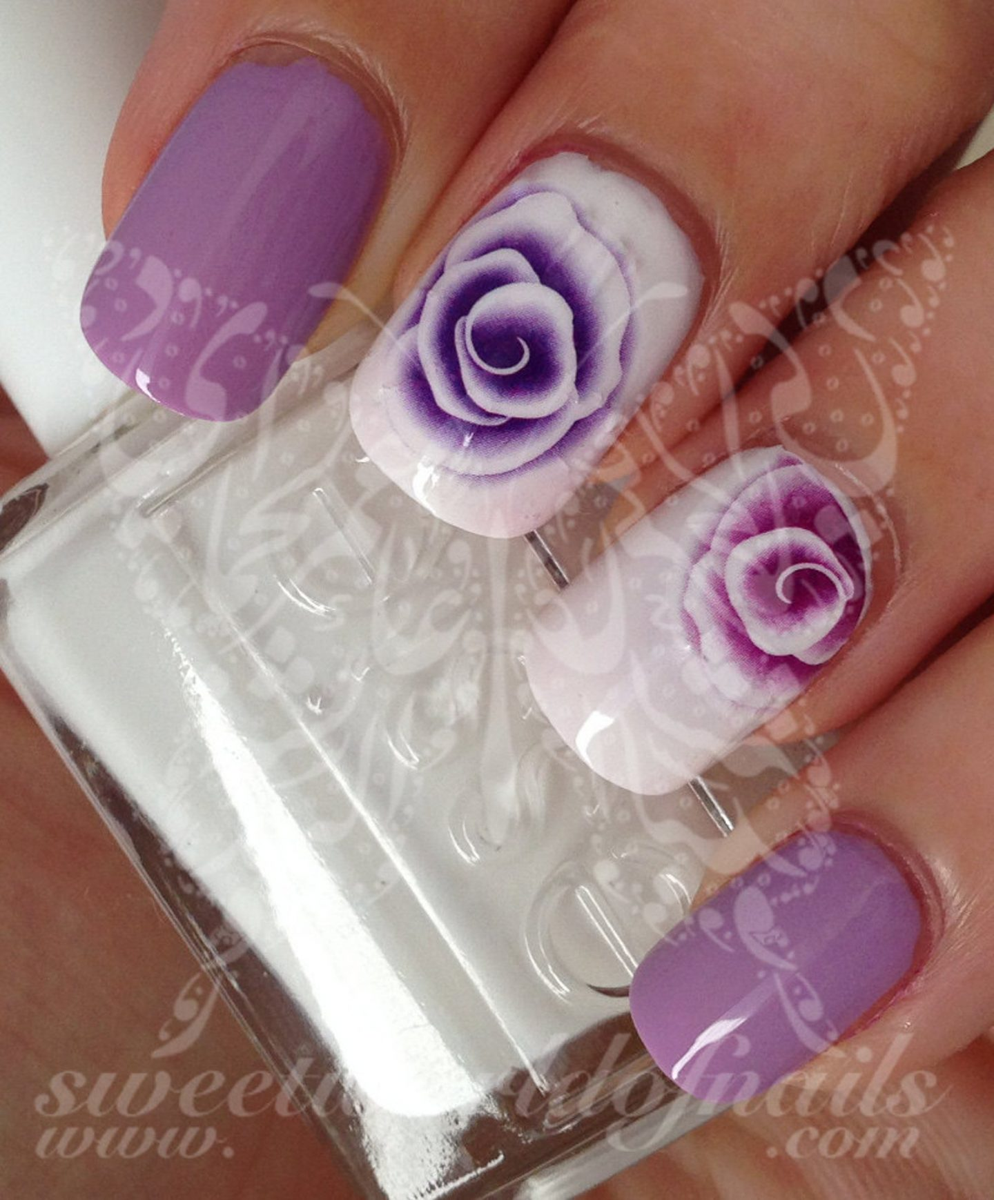 Light purple rose nail decals