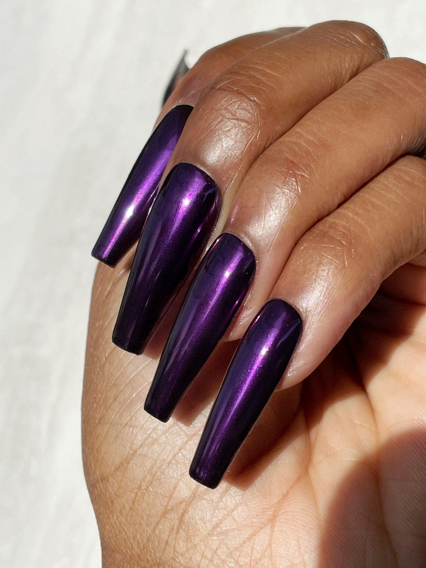 Metallic dark purple coffin nail idea