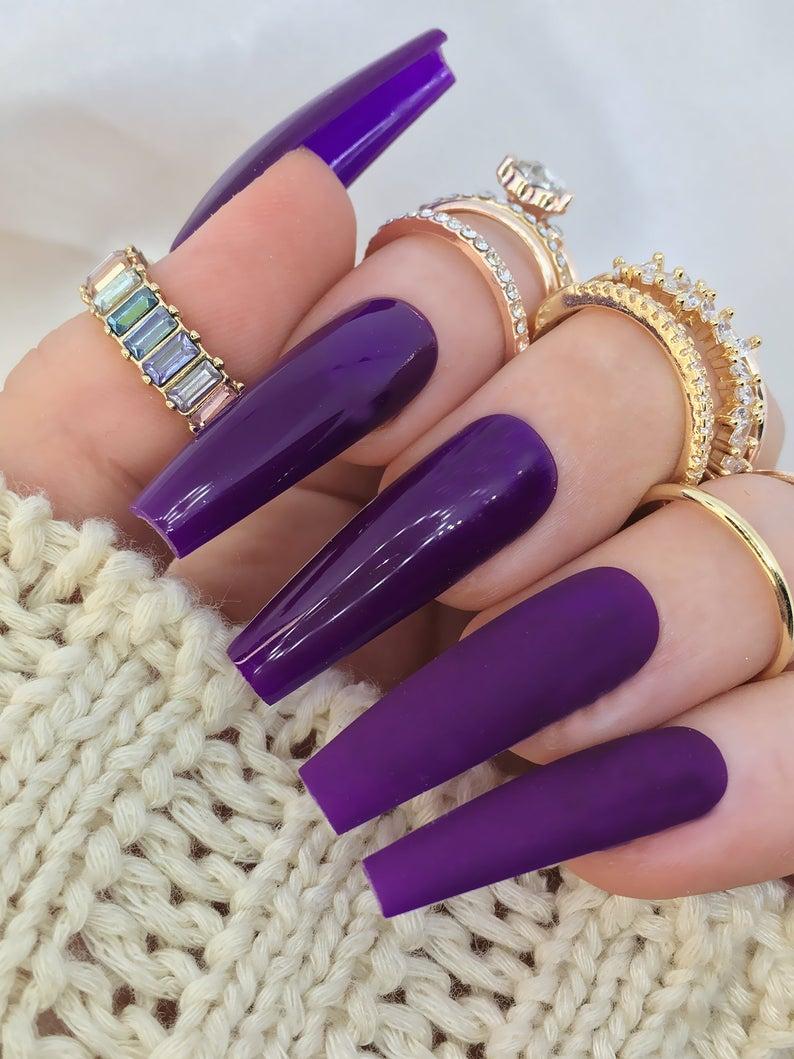 Dark purple matte nails