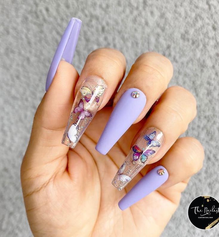 Light purple butterfly coffin nails