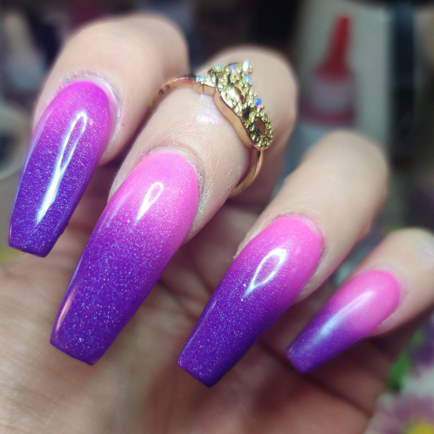 Pink and purple temperature changing nail designs with glitter