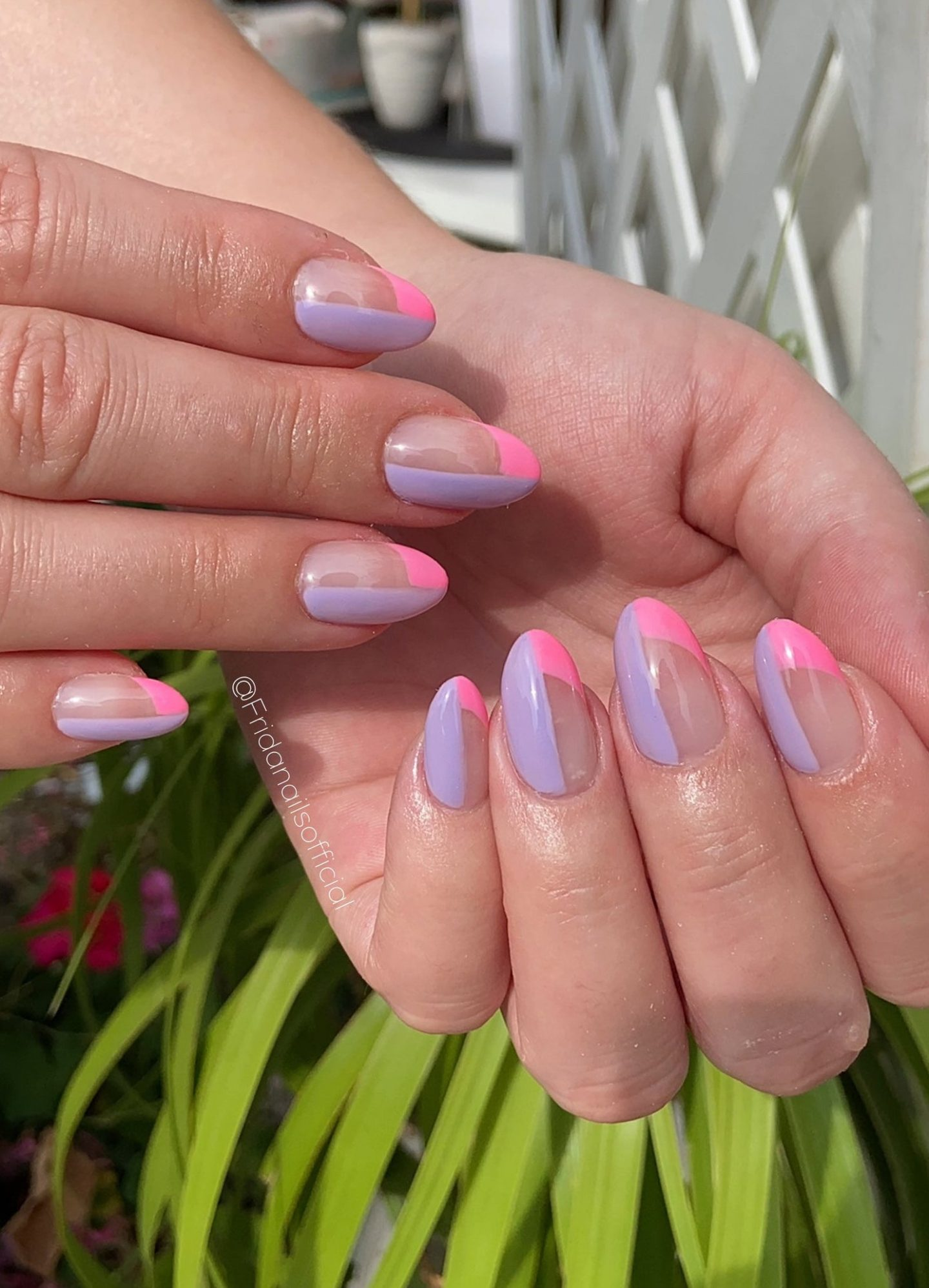 Trendy lavender and hot pink nail art