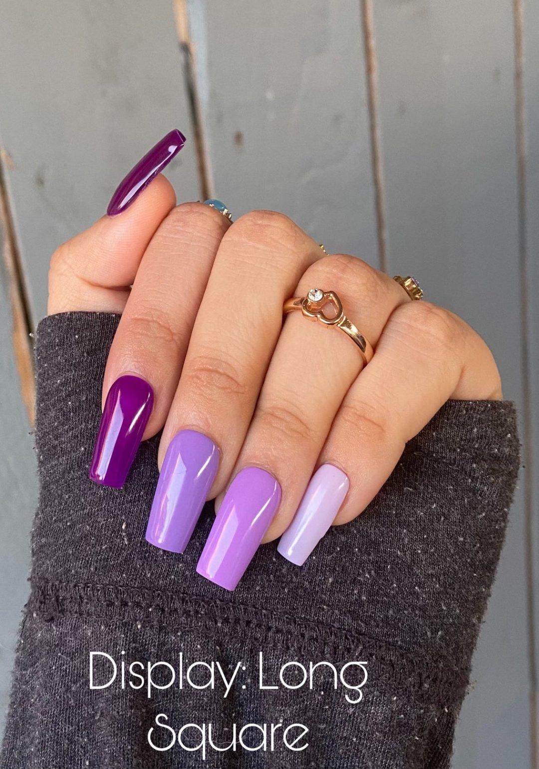 Purple gradient ombre nails