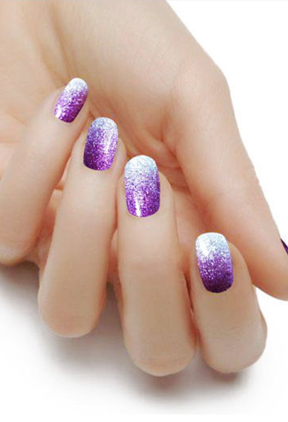 Short silver and purple nail wraps with glitter