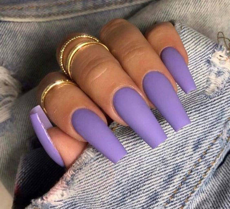 Matte lavender coffin nail design idea
