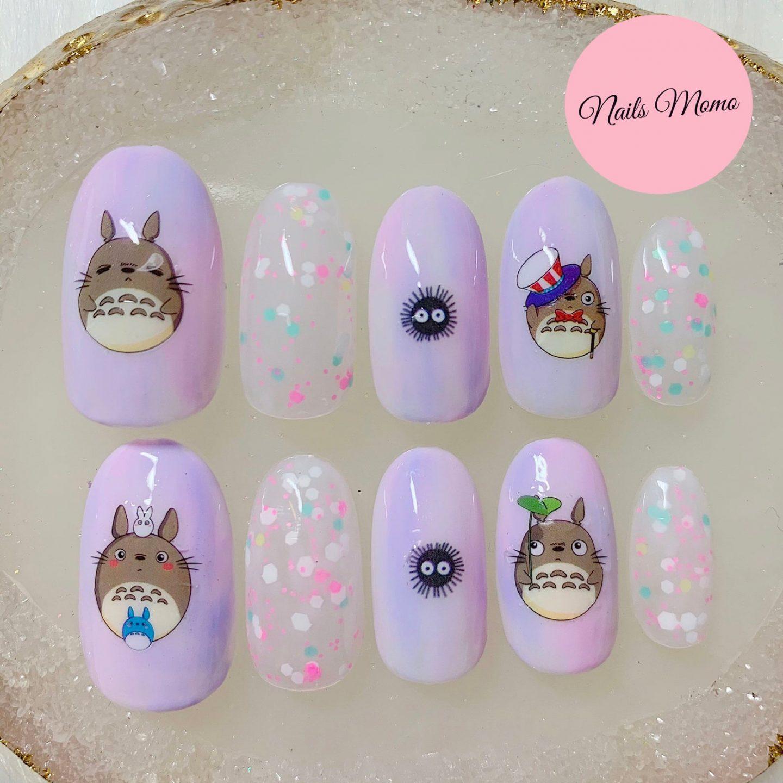 Light lavender Totoro nail art