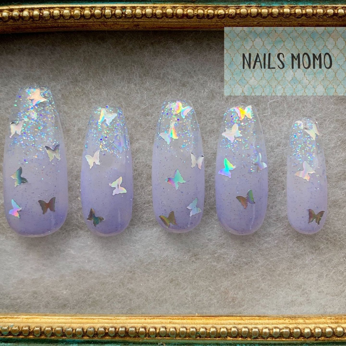 Light lavender butterfly nail designs
