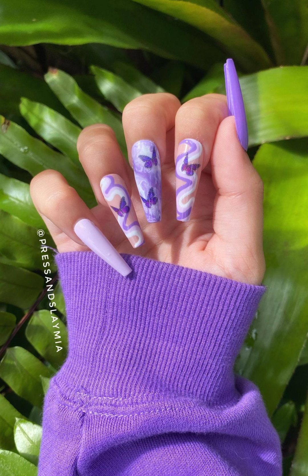 Purple retro and abstract nails with butterflies