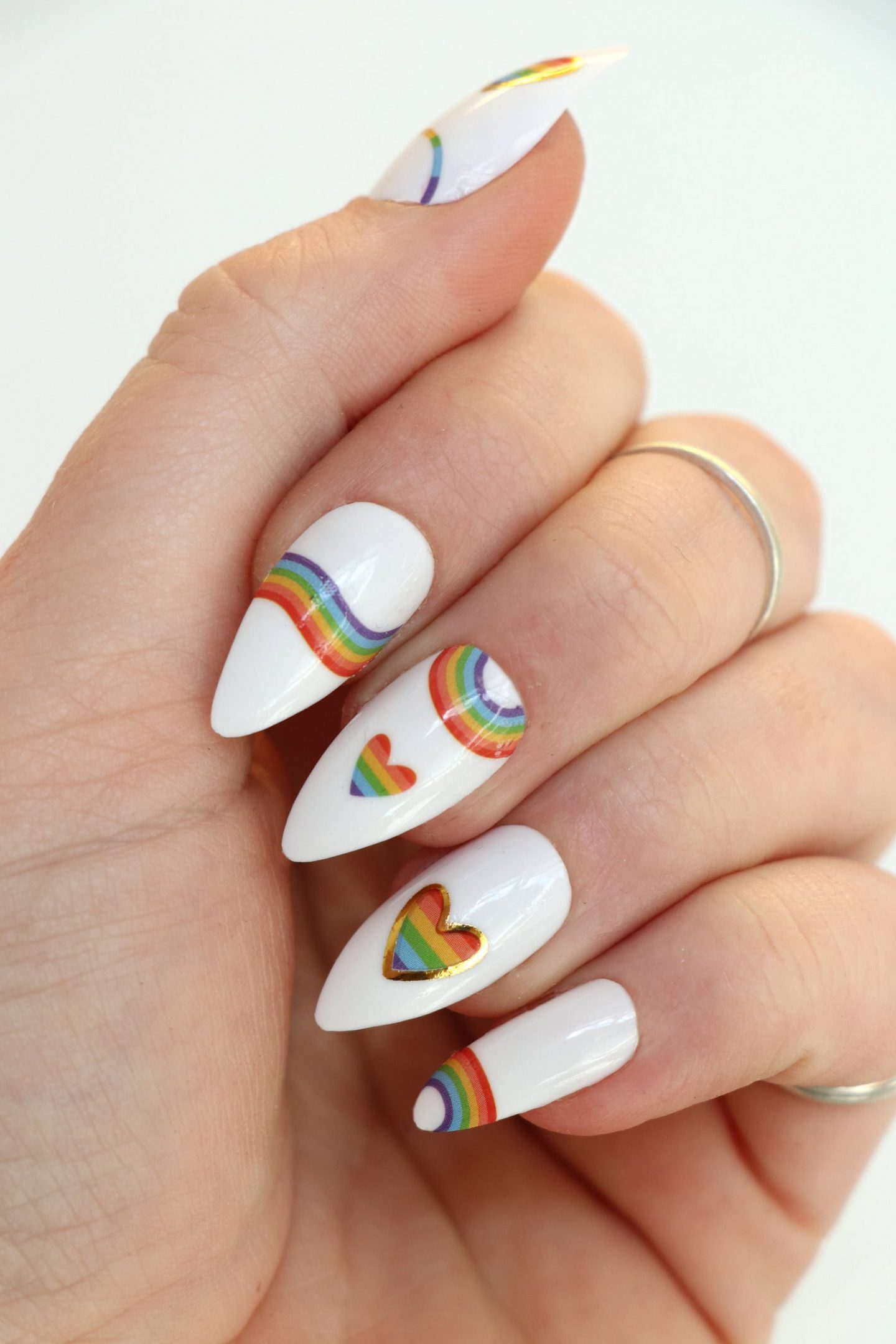 Rainbow nail decals, stickers and wraps with hearts