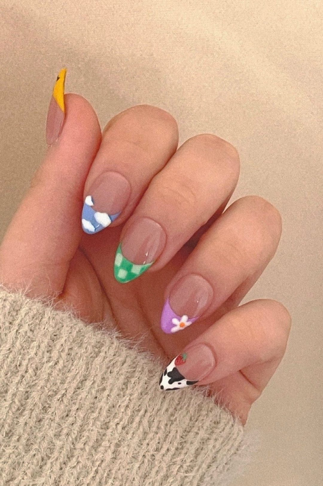 Cute and colorful French tip nails