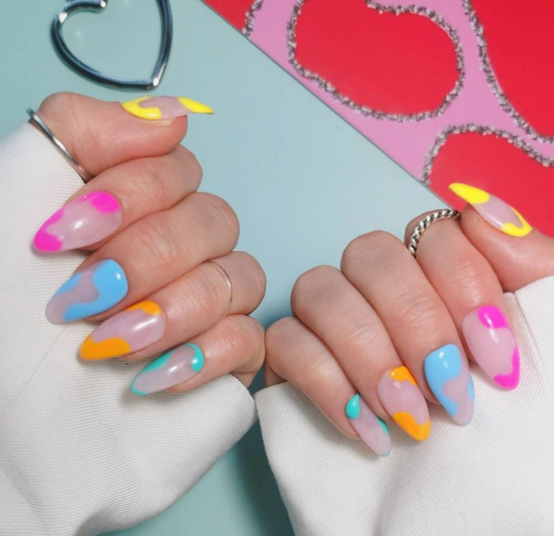 Colorful pastel swirl nails