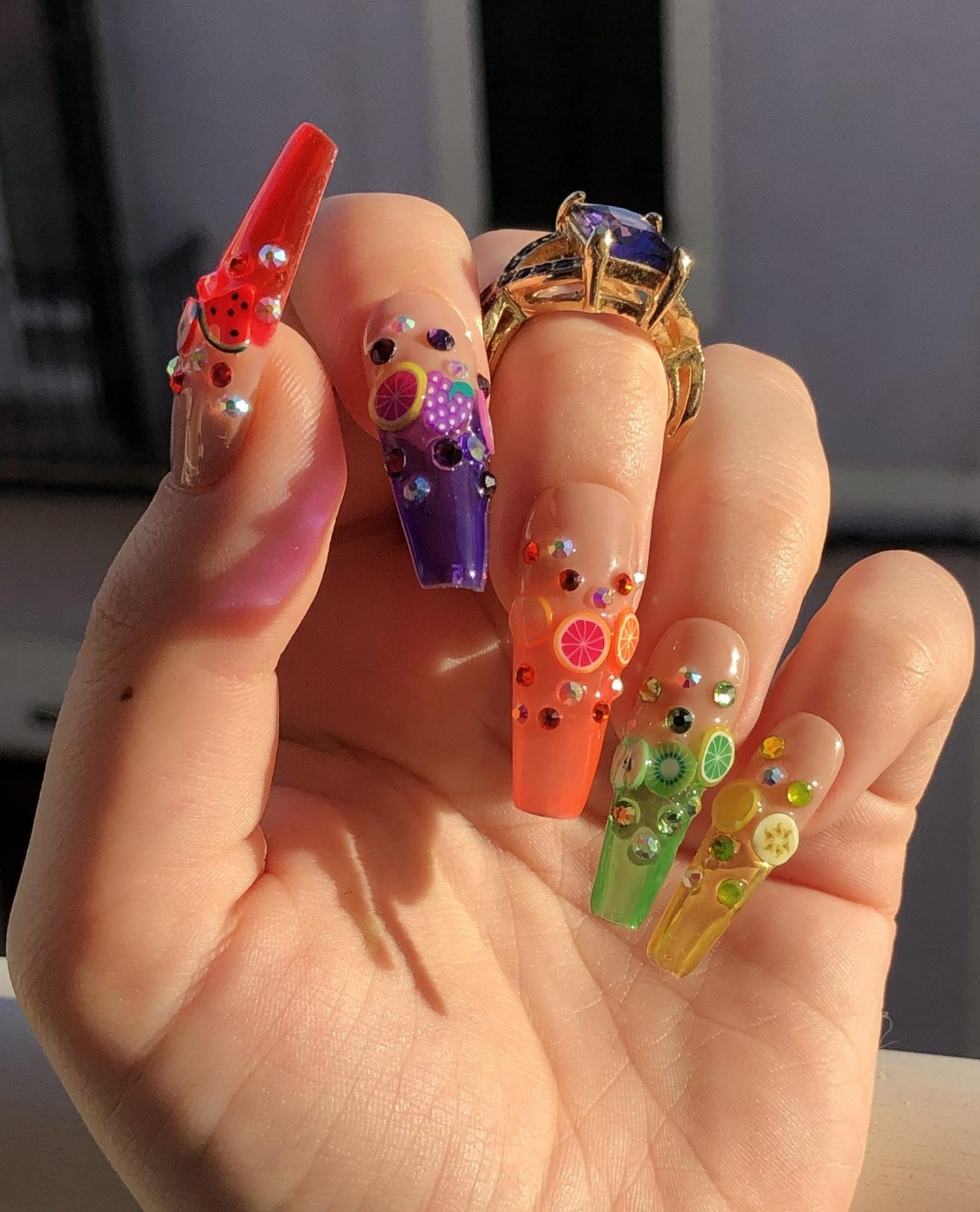 Rainbow jelly fruit nails with French tips