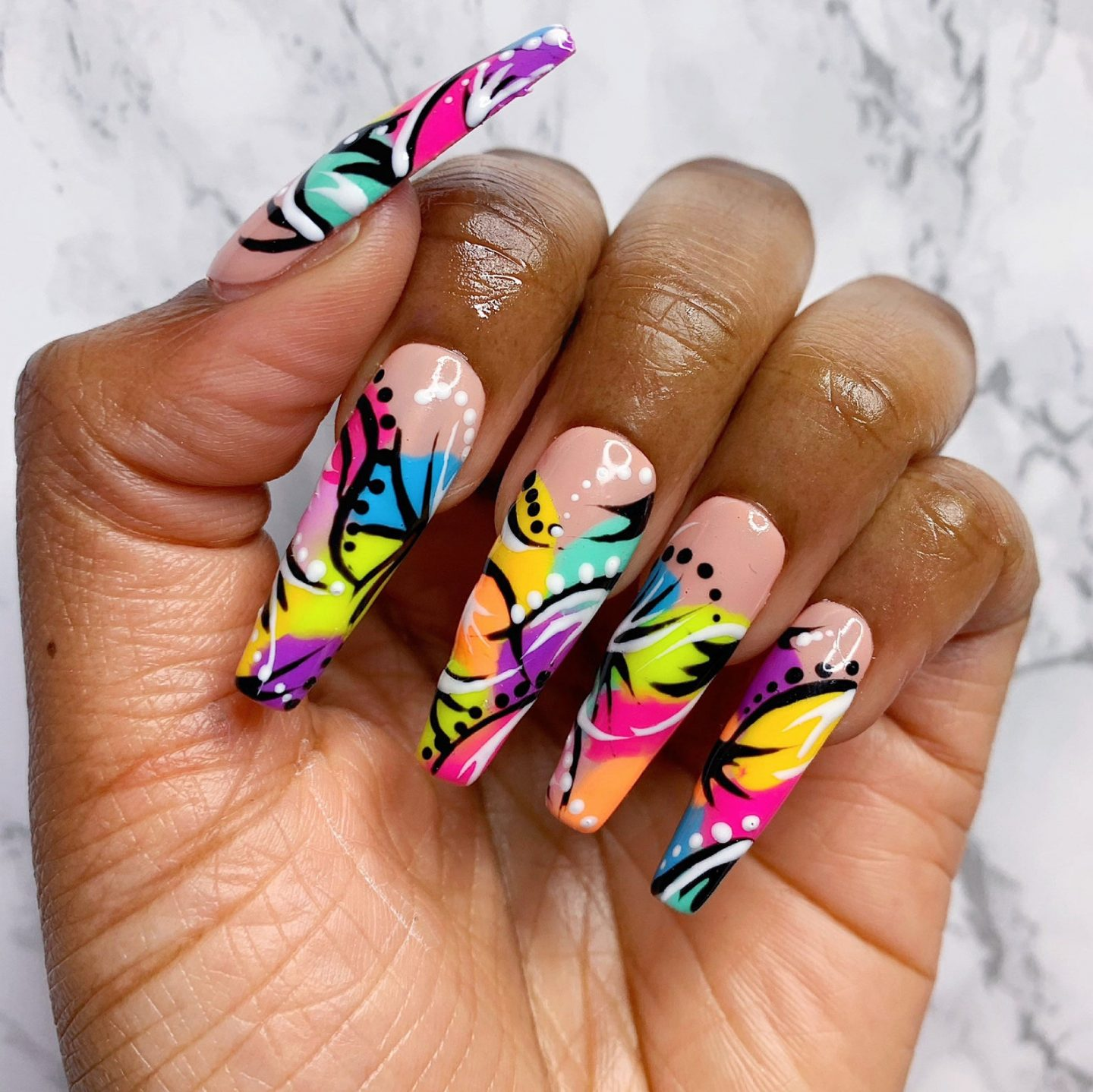 Colorful tropical coffin nails