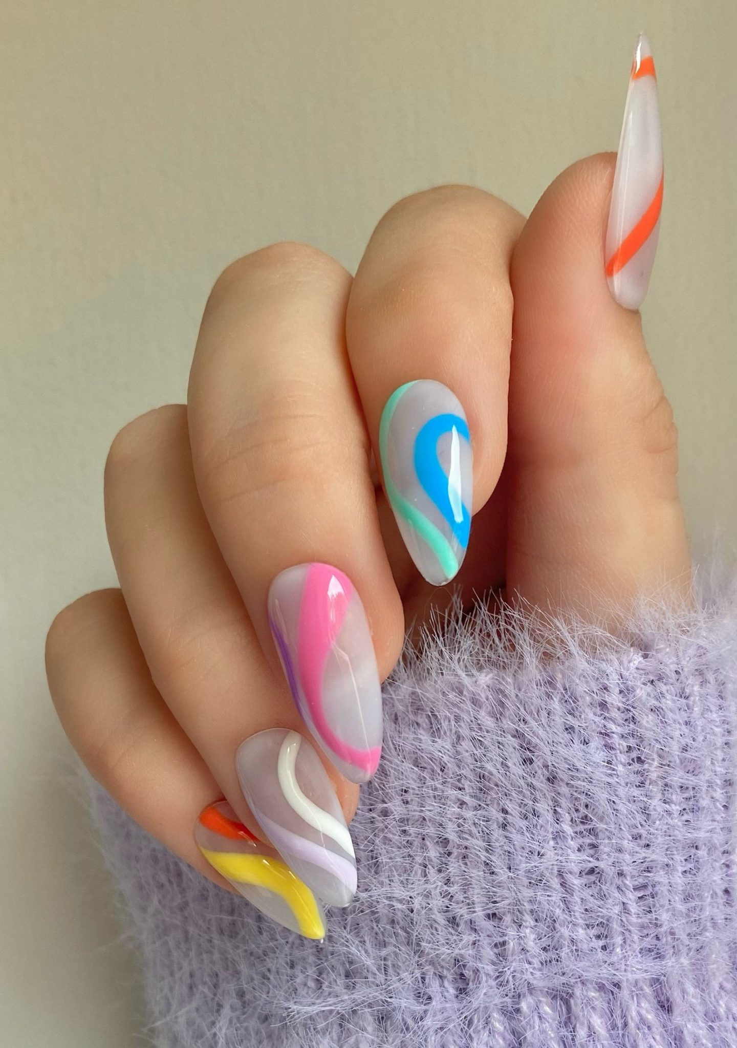 Pastel abstract nails with swirls
