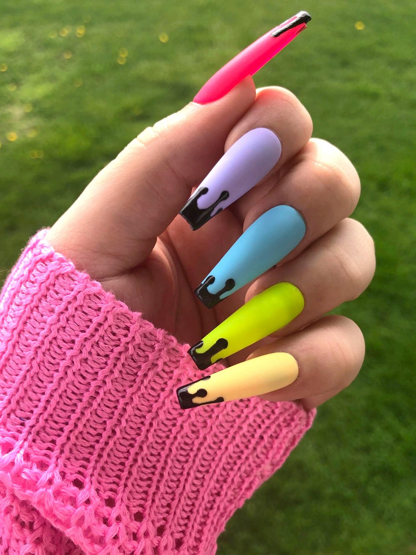Pastel rainbow ombre and gradient nails with drip