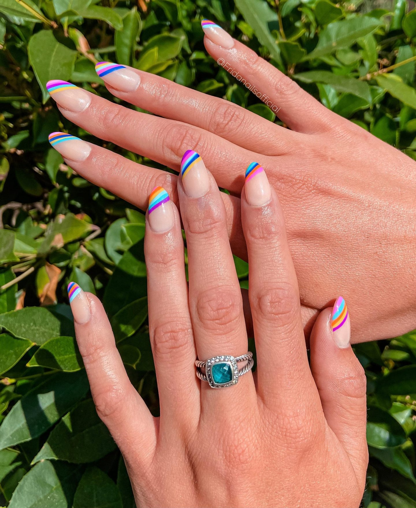 Cute short rainbow French tip nails