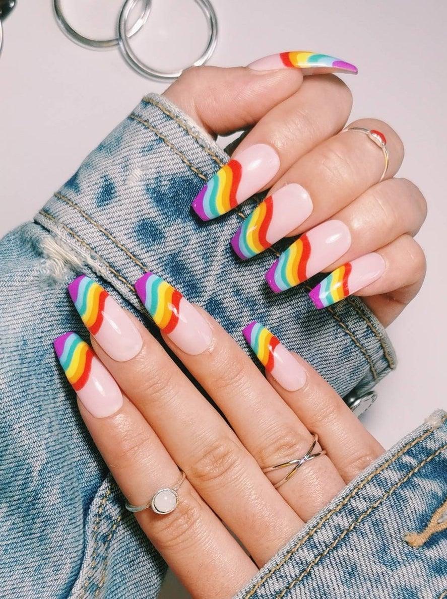 Cute rainbow coffin nails