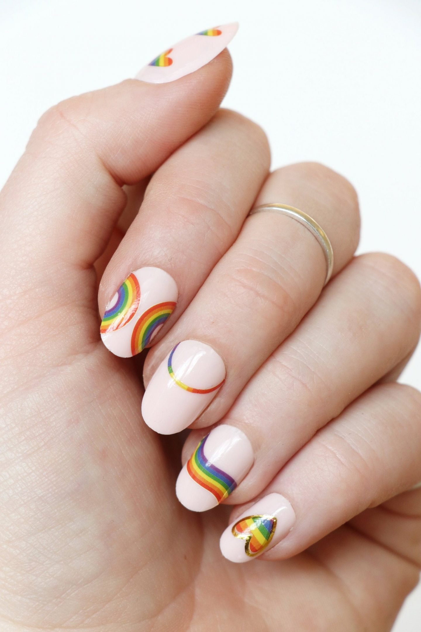 Pride nail stickers with hearts