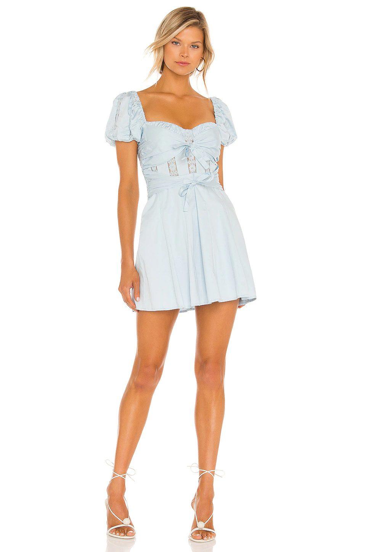 Light blue mini dress with short sleeves