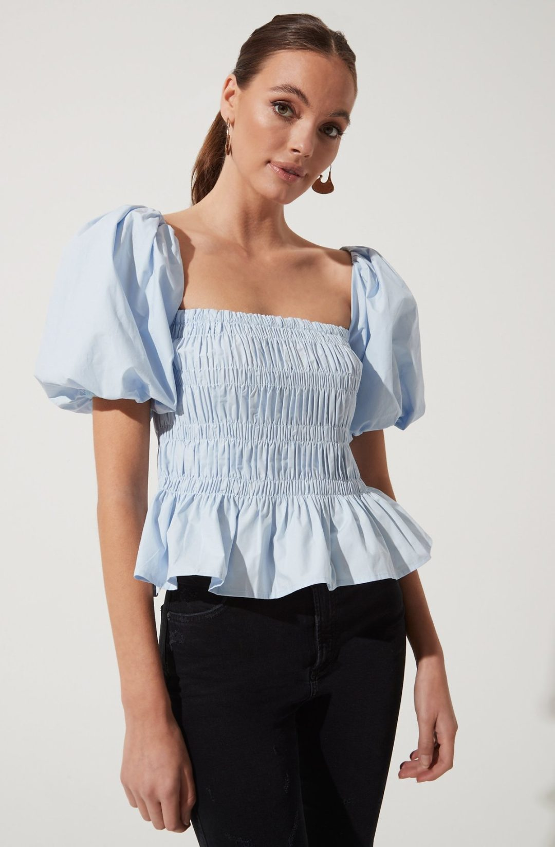 Light blue ruffle top with balloon sleeves