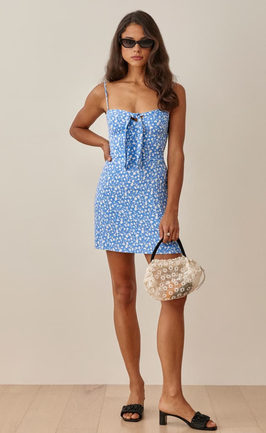 Blue floral retro dress with ribbon