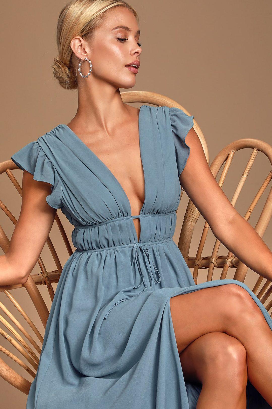 Dusty blue boho dress for summer