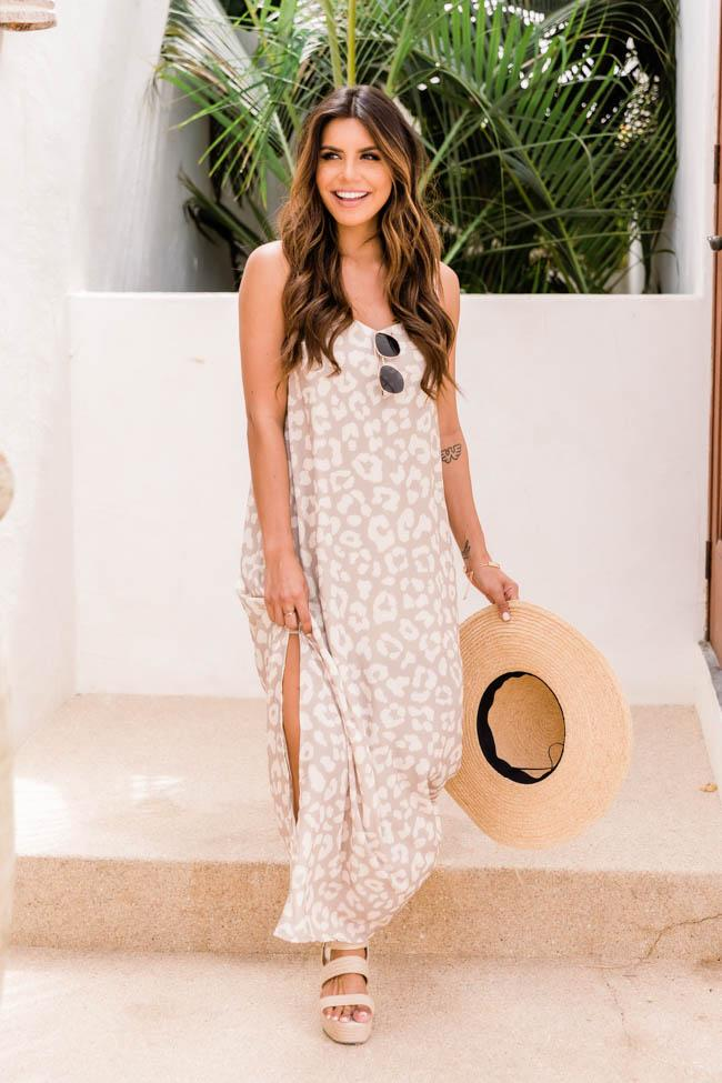 Nude and white leopard print maxi dress for summer