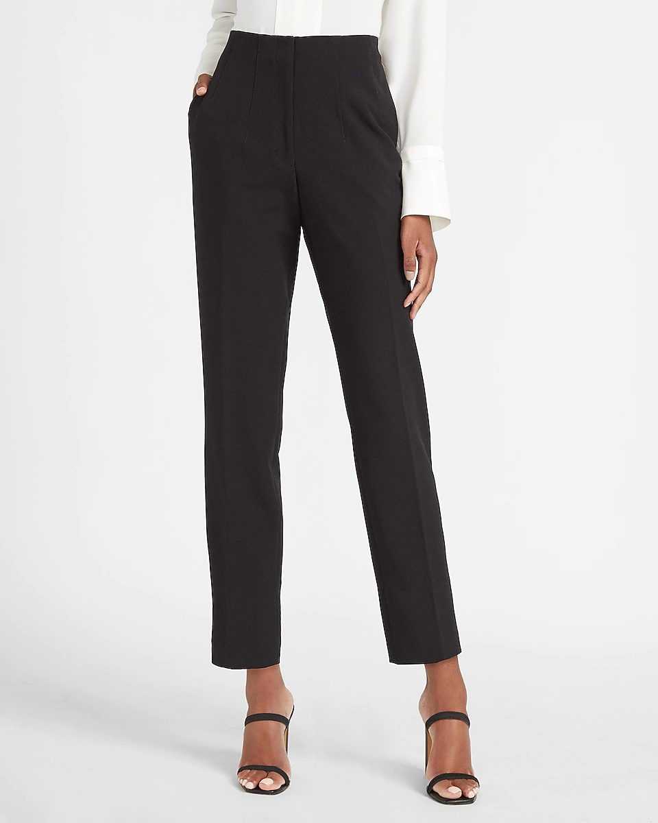 Black tailored trousers for minimalist french capsule wardrobe