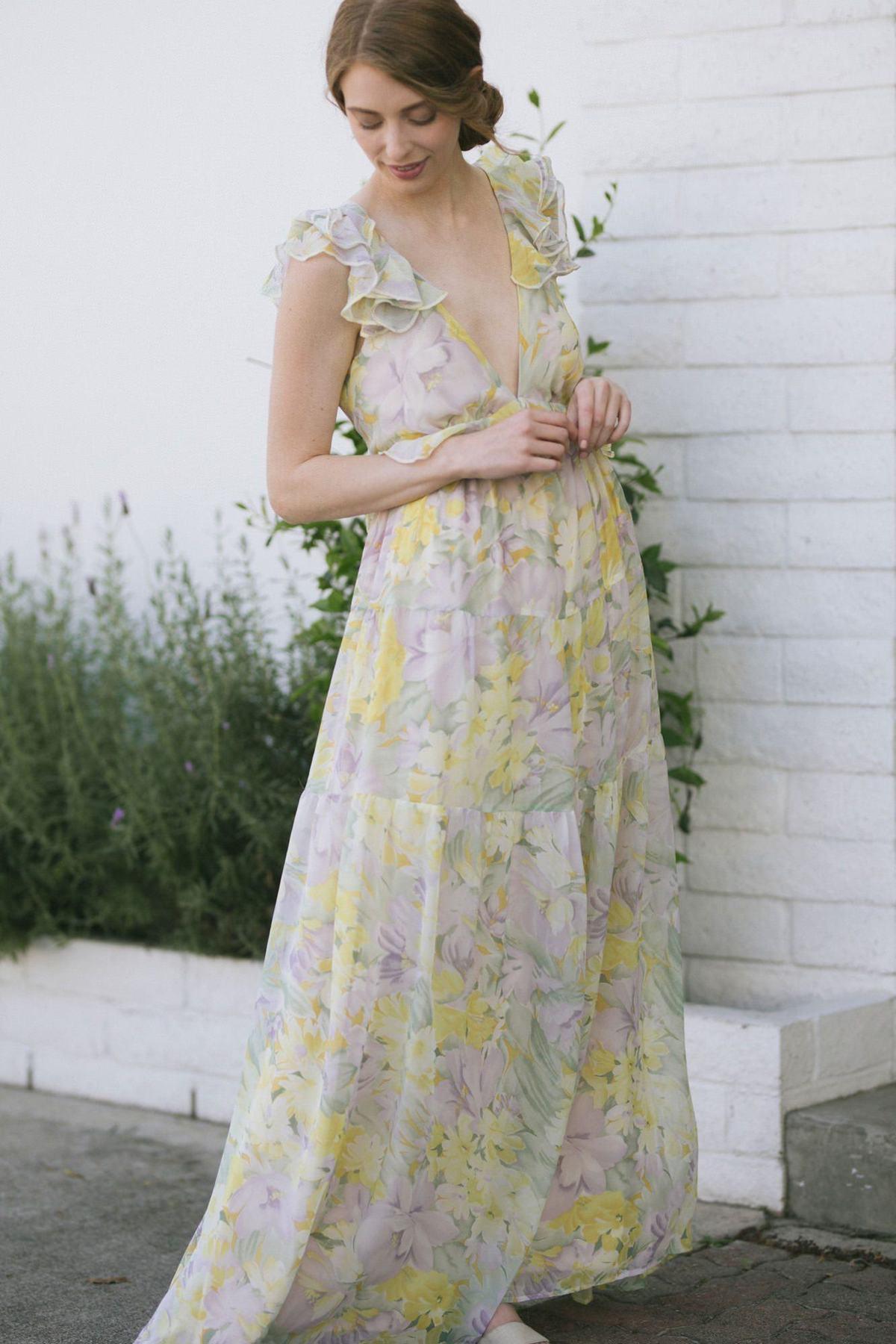 Ruffled maxi v-neck nursing dress for wedding guests