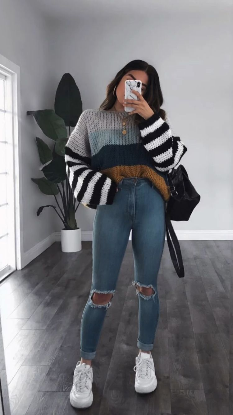 Multicolor knit sweater top for back to school outfits