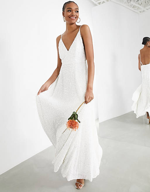 Simple white bridal dress with sequins
