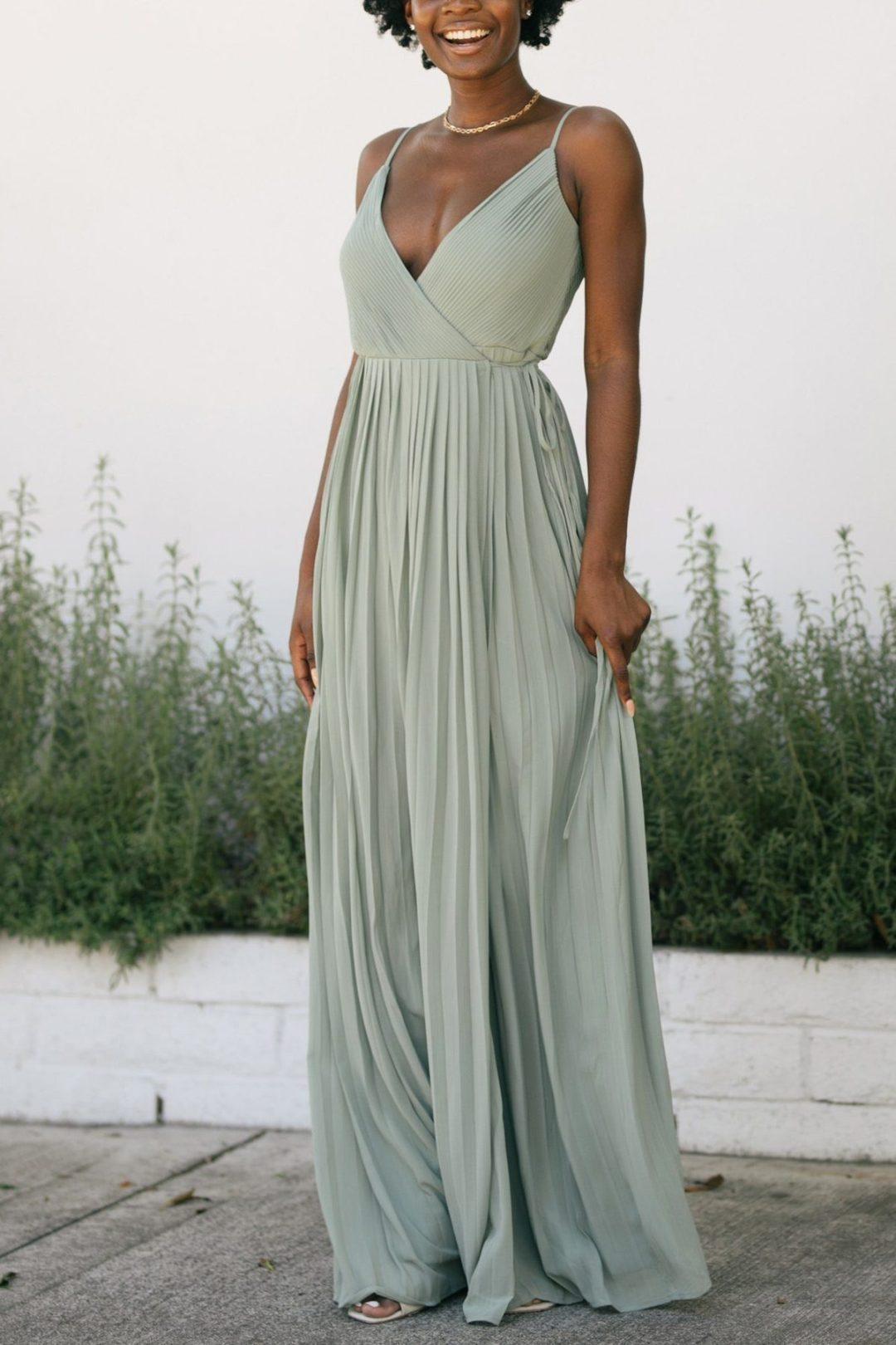 Sage green v-neck maxi dress