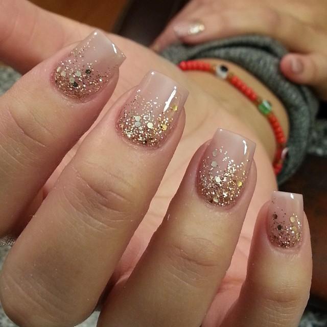 Nude glitter gel nails