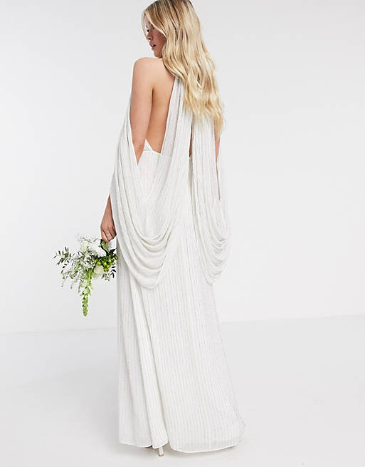 Simple bridal dress with draped sleeves
