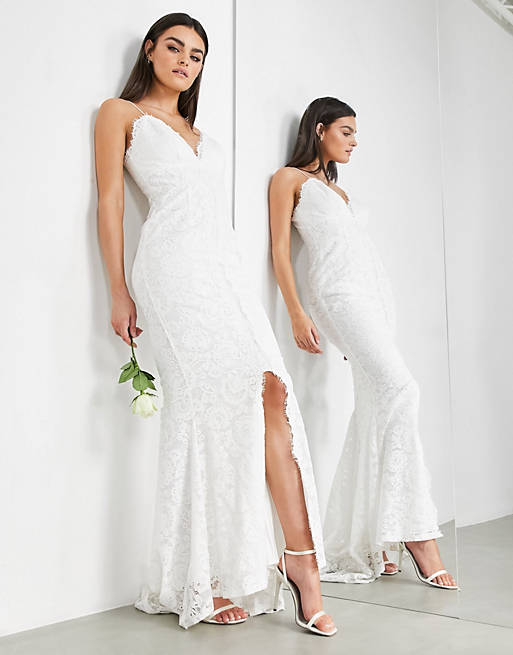 Simple white bridal dress with lace