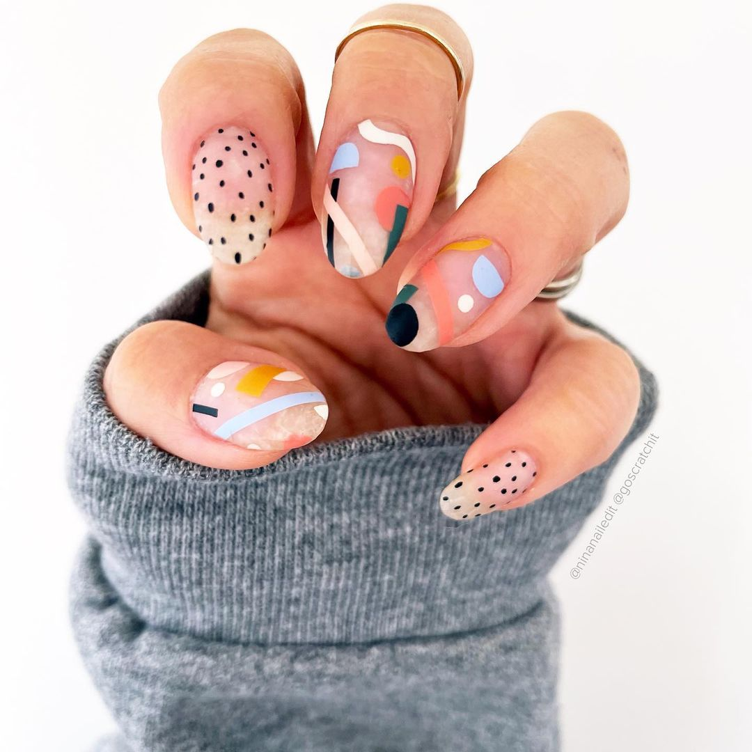 Transparent abstract art gel nails