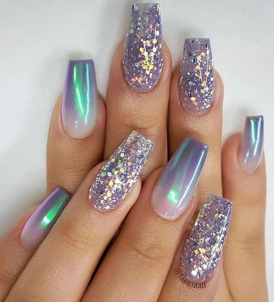 Purple-blue holographic glitter nails