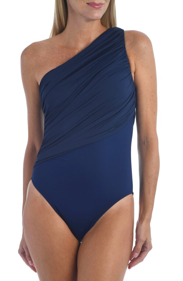 Navy blue one shoulder one-piece swimsuit