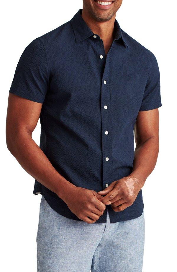 Simple navy blue button up shirt