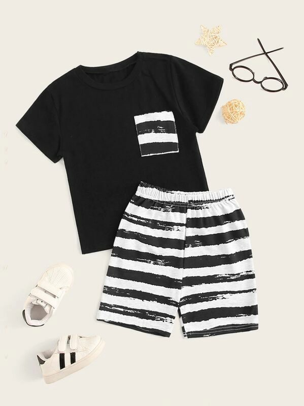 Black striped outfit set for baby boys
