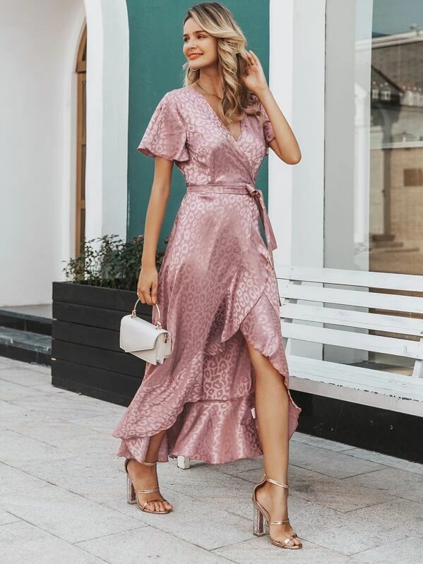 Leopard print satin pink maxi dress for date night outfits